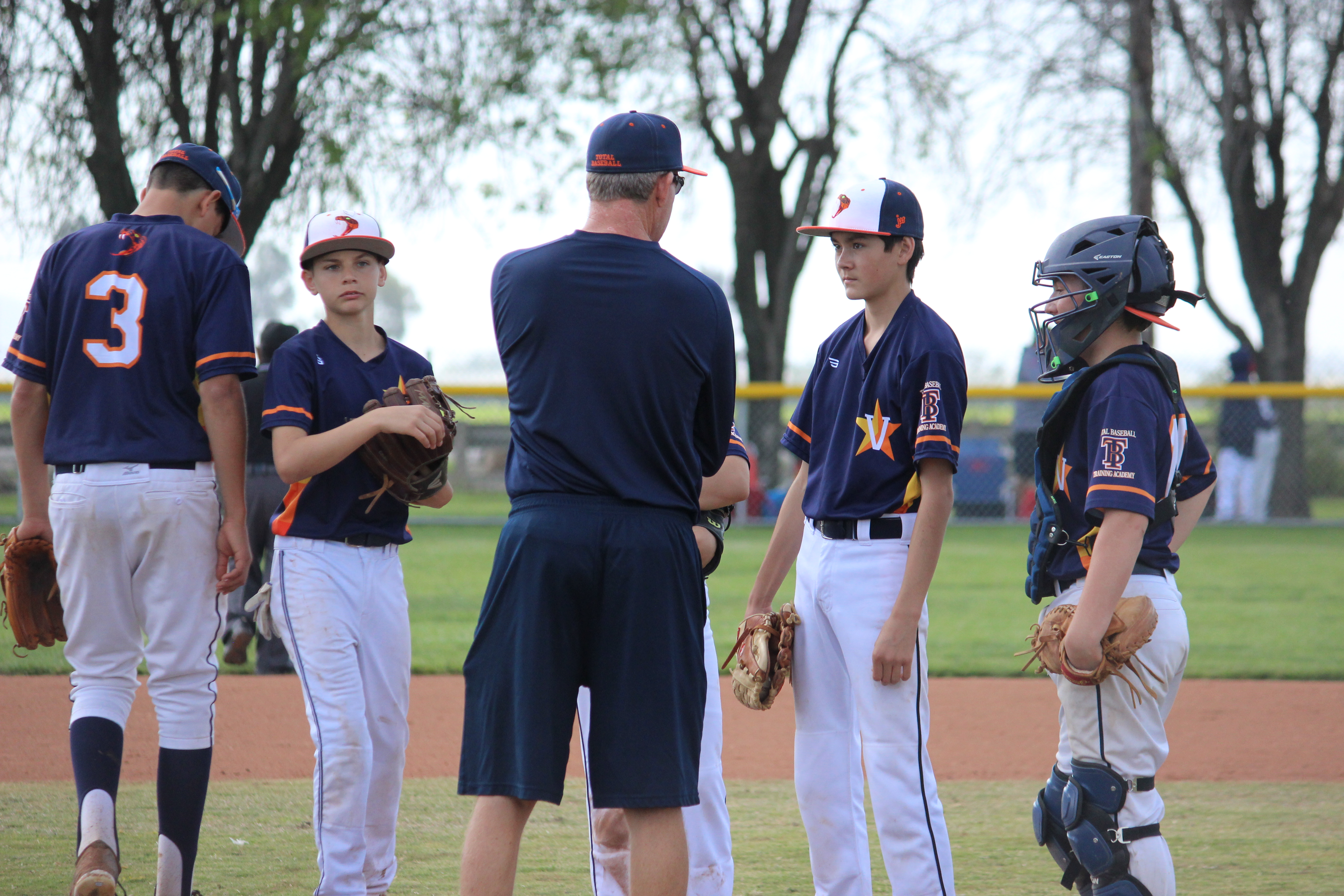 coach and players meeting at the mound