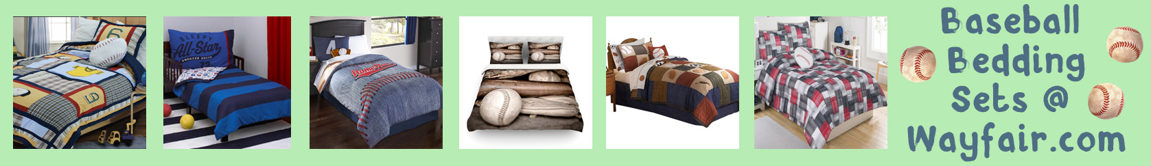 wayfair baseball bedding banner thin bright light green with baseballs