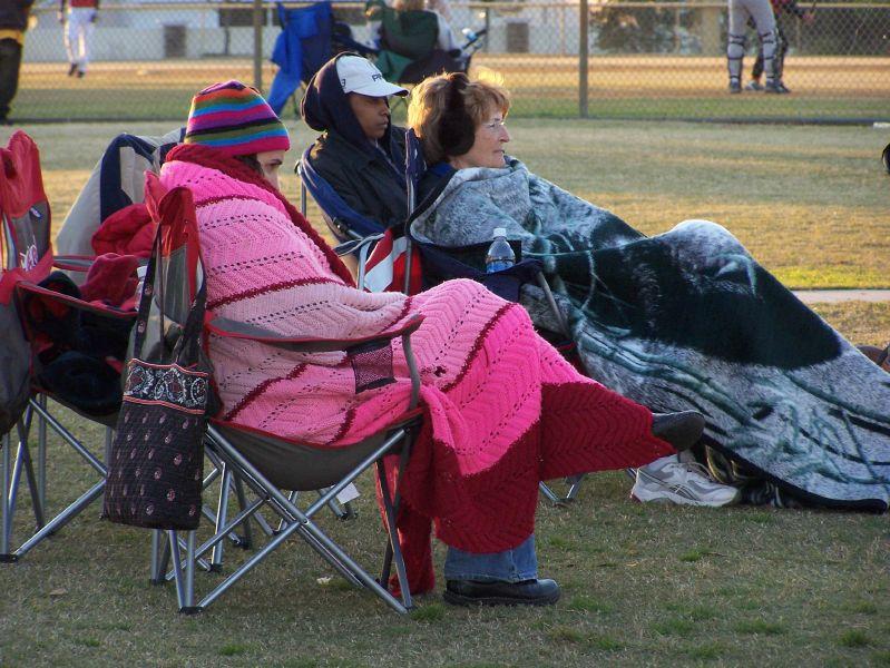 baseball fans in blankets