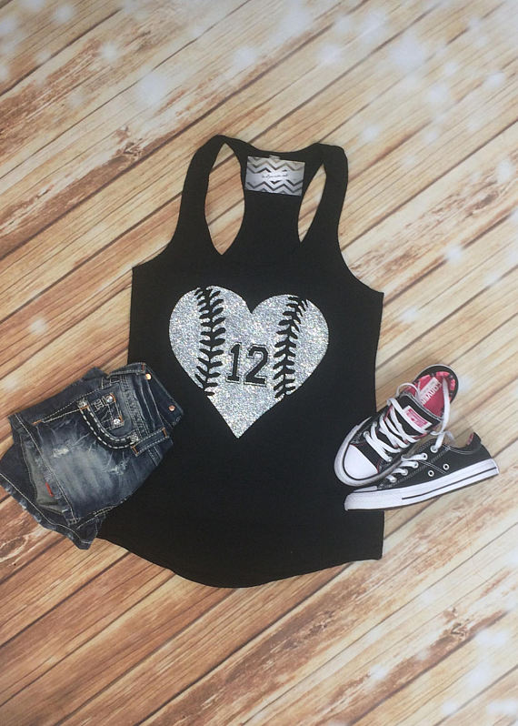 baseball heart with number