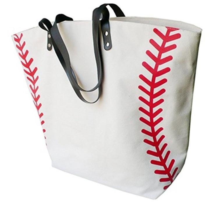 baseball oversized canvas tote bag