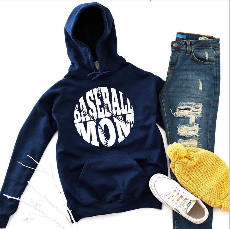 navy baseball mom hoodie