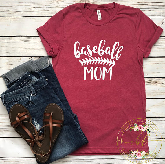 red baseball mom t-shirt