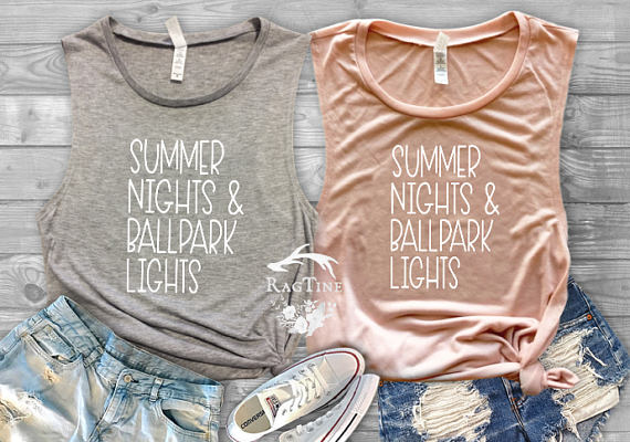 summer nights & ballpark lights tank tops