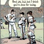 good job kid missing arm baseball cartoon