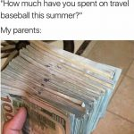 how much have you spent on travel ball