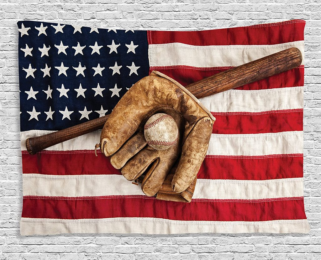 Ambesonne Sports Decor Tapestry Vintage Baseball League Equipment with Usa American Flag