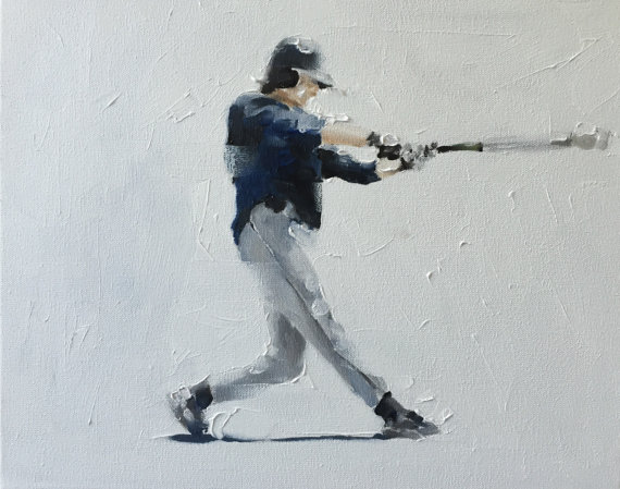 Baseball Painting Baseball Art Baseball PRINT Baseball Player