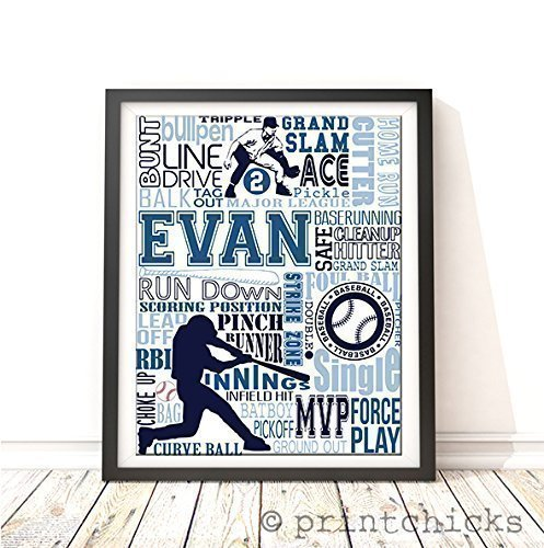 Baseball Typography Personalized Print