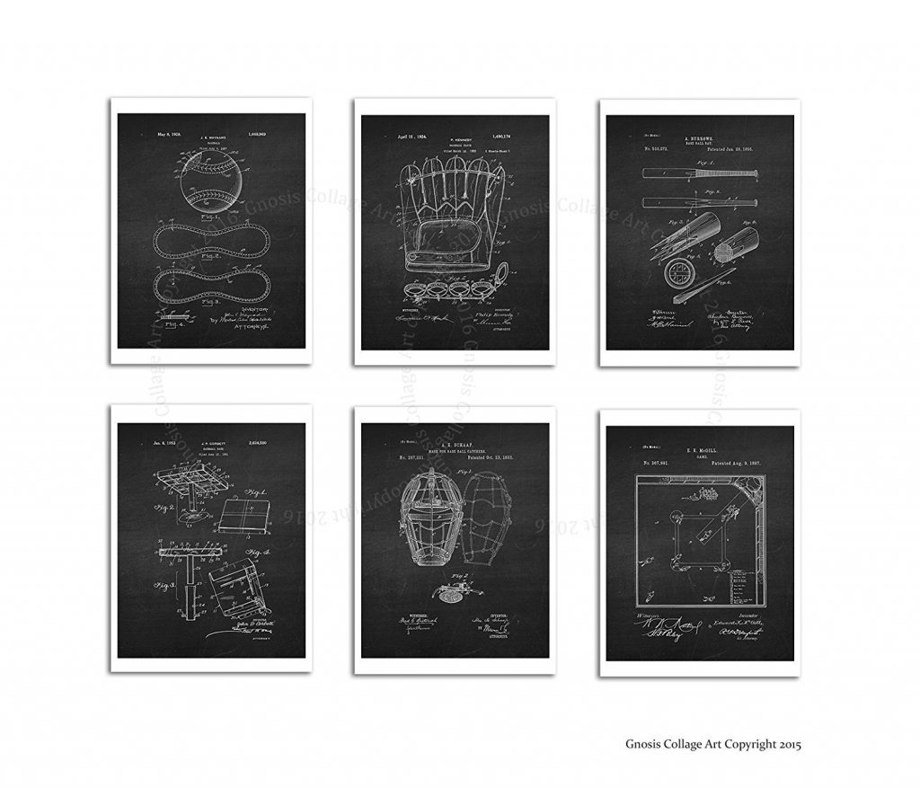 Baseball Wall Art Decor Set of 6 Unframed Patent Art