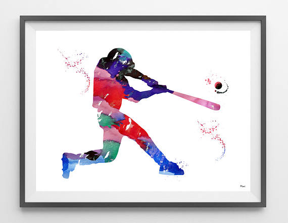 Baseball hitter watercolor print