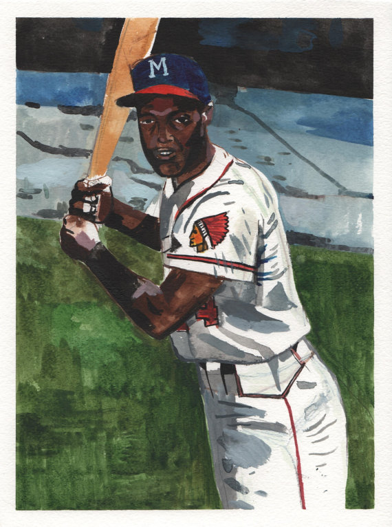 Hank Aaron. Milwaukee Braves Watercolor and Gouache on Paper