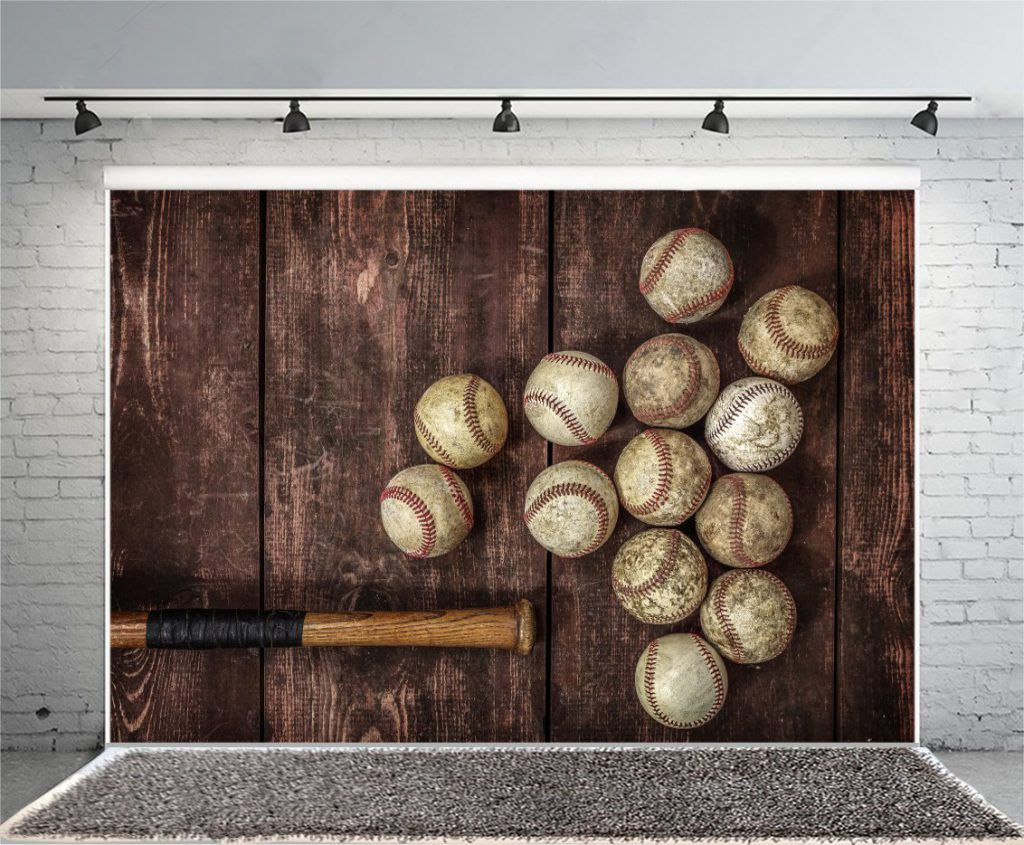 Laeacco Old Vintage Baseball Background 7x5ft Photography Background Aged Balls