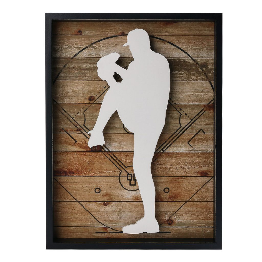 Outdoors Sports Baseball Wooden Framed Wall Art