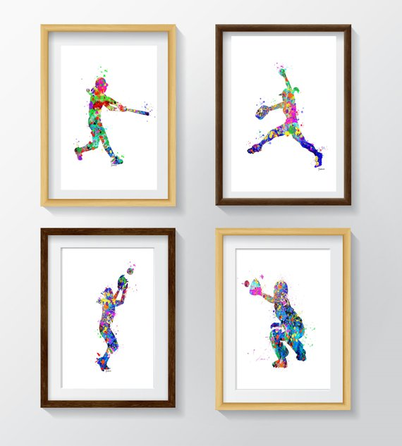 PRINTABLE Watercolor Softball Prints