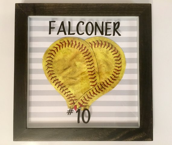 Softball Heart Frame with Player Name and Number