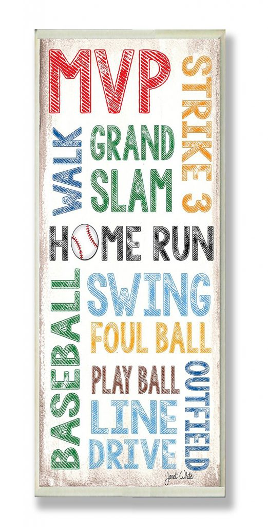 Stupell Home Décor Home Run Baseball Typography Rectangle Wall Plaque