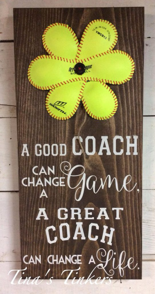 a good softball coach painted wall art