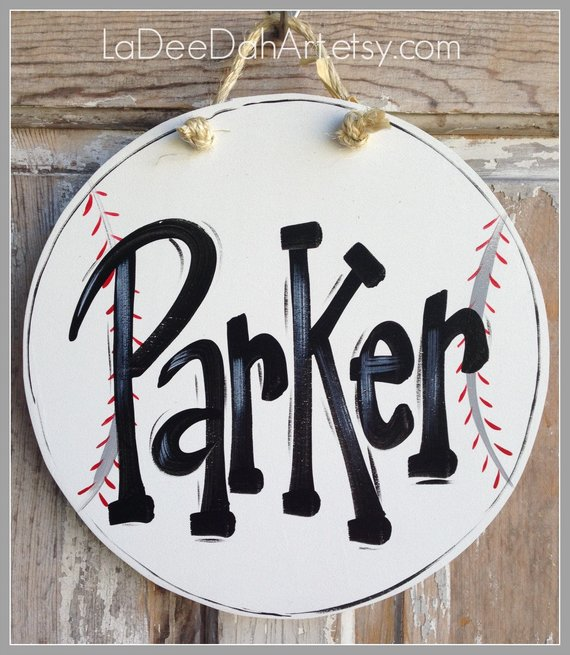 baseball door name plaque