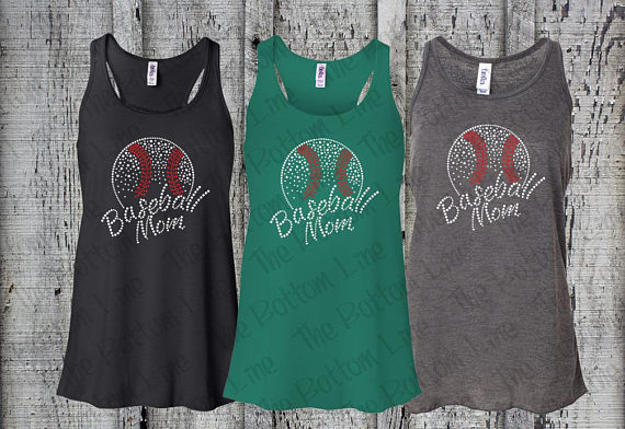 baseball mom rhinestone tank top