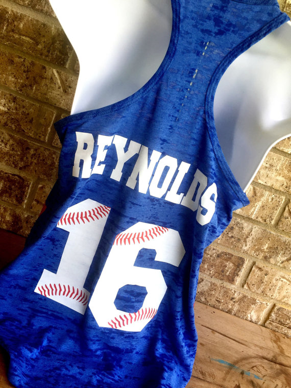 baseball tank with custom name and number on back