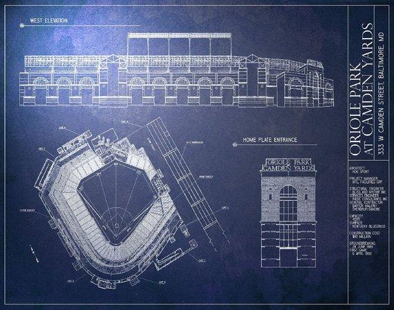 camden yards blueprint poster