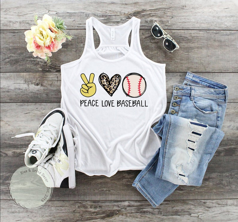 etsy peace love baseball tank top