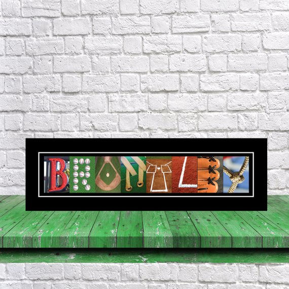 letter name art baseball print