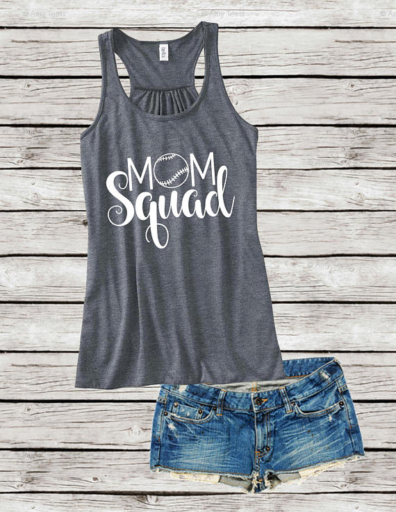 mom squad gray tank top