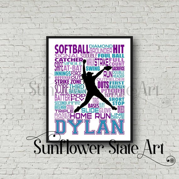 personalized softball poster
