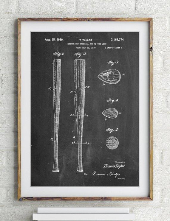 vintage baseball bats poster