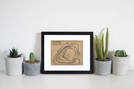 yankee stadium vintage burlap framed art