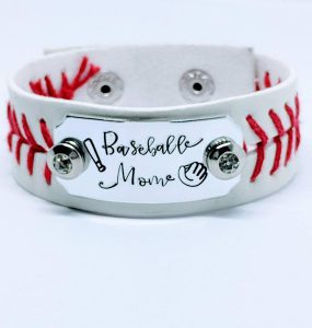 Baseball Mom Hand stamped leather cuff