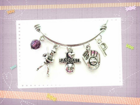 Baseball themed personalized bangle bracelet