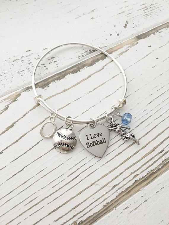 Personalized Softball Bangle Bracelet