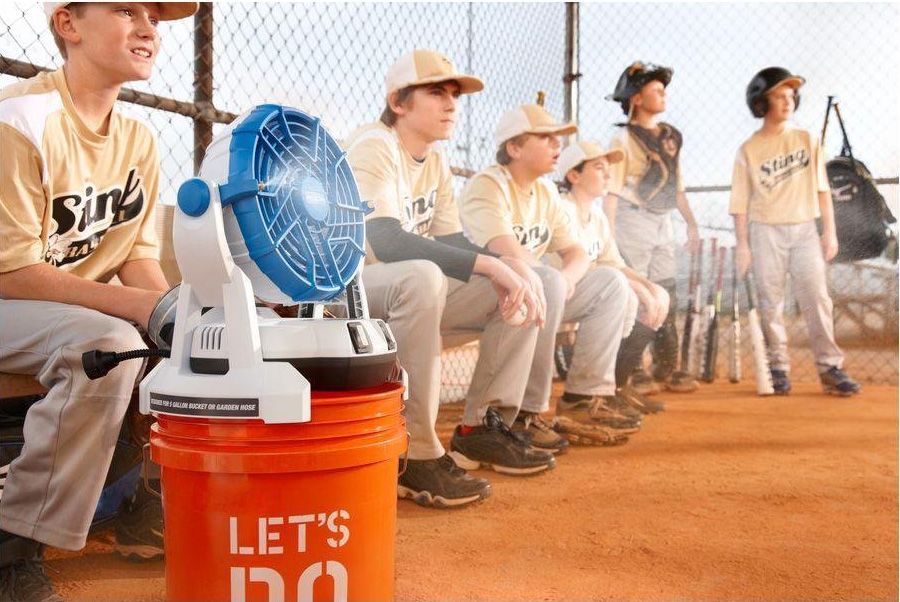 arctic cove misting fan in dugout