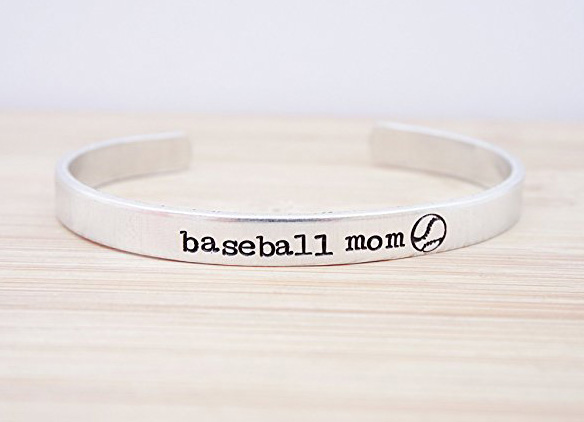 baseball mom cuff bracelet crop