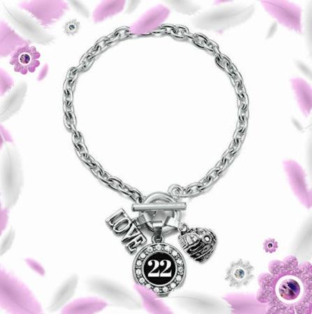 baseball number charm bracelet