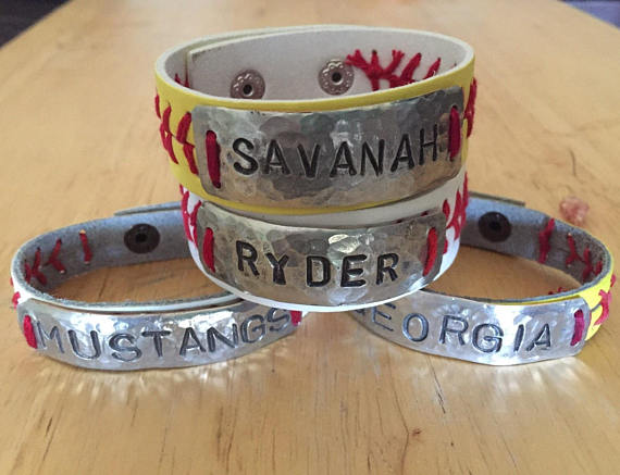 personalized baseball or softball bracelet
