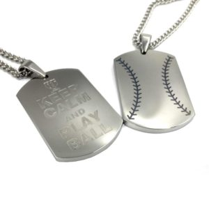 BASEBALL STITCH KEEP CALM AND PLAY BALL ENGRAVING DOG TAG PENDANT