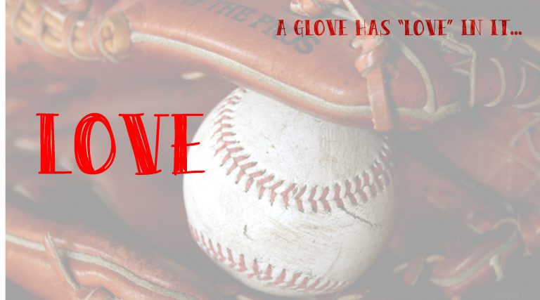 a glove has love banner
