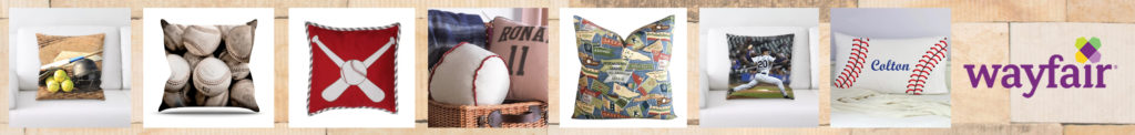 wayfair baseball pillows banner with wall brick background