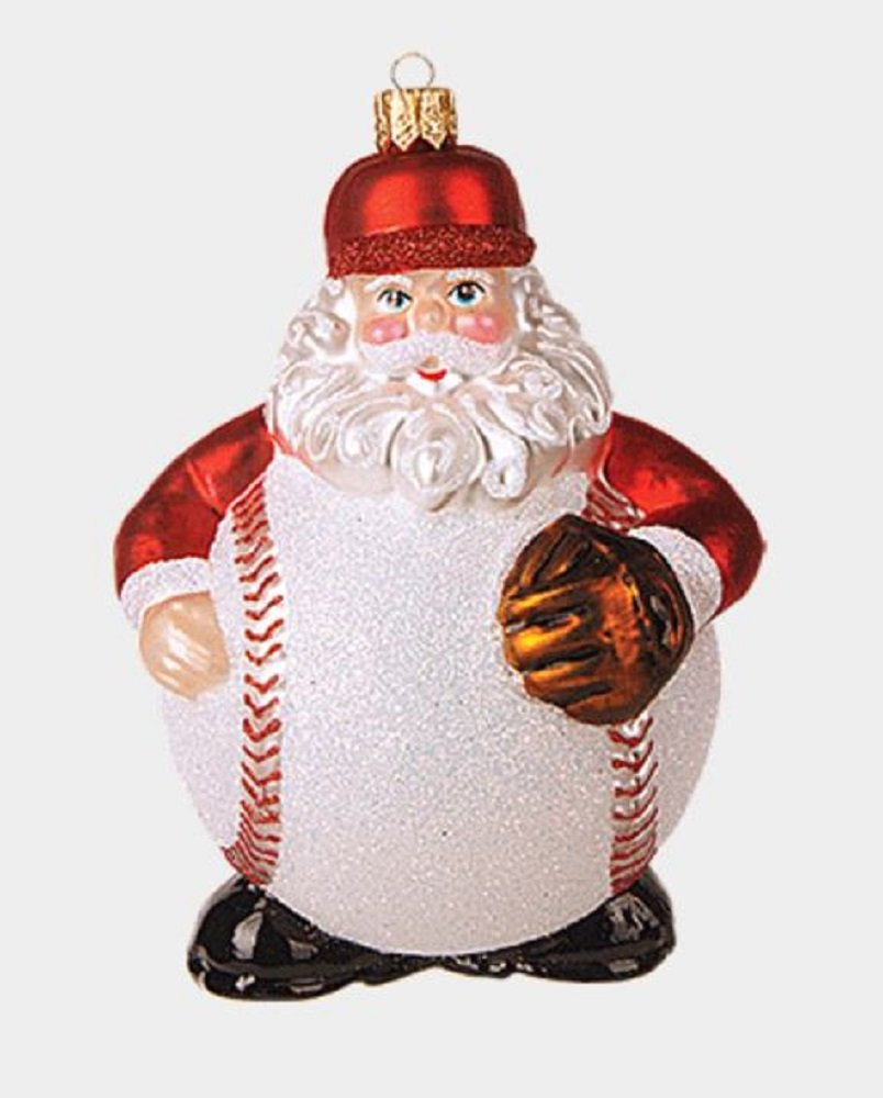 Pinnacle Peak Trading Company Baseball Body Santa Claus Polish Glass Christmas Tree Ornament