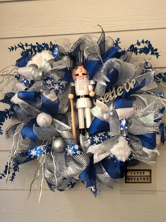 baseball nutcracker christmas wreath