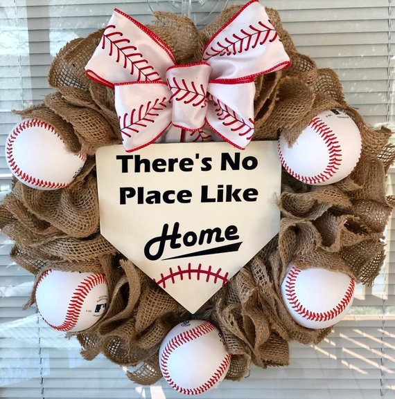 baseball wreath with red & white bow