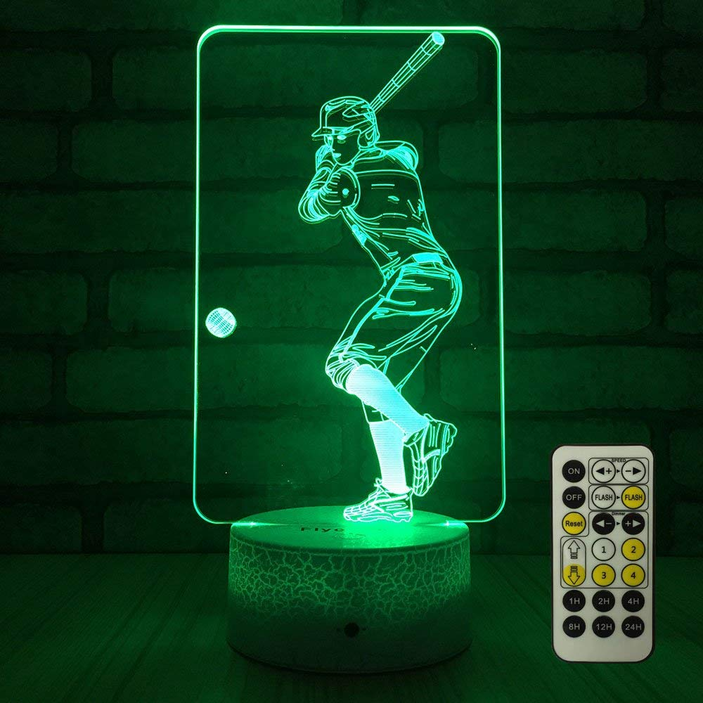 flyonsea baseball optical illusion lamp