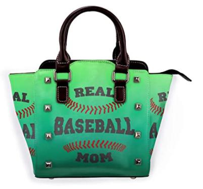 green leather baseball mom tote