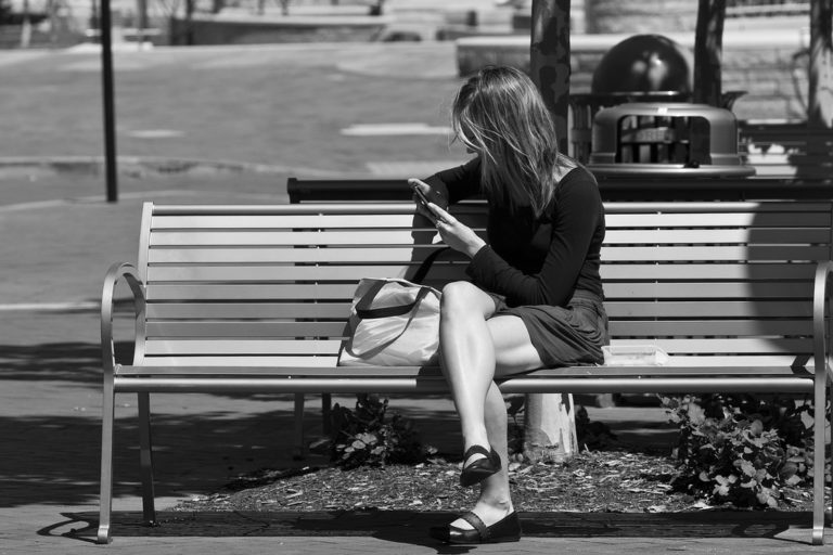 woman on park bench