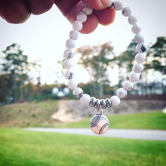 white bead baseball bracelet