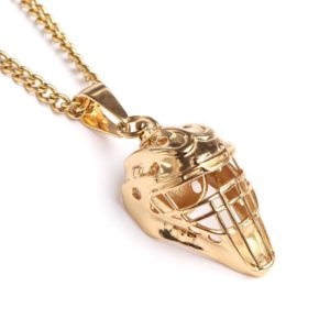 gold catcher mask necklace